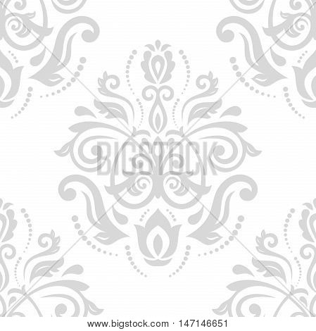 Seamless baroque vector light silver pattern. Traditional classic orient ornament
