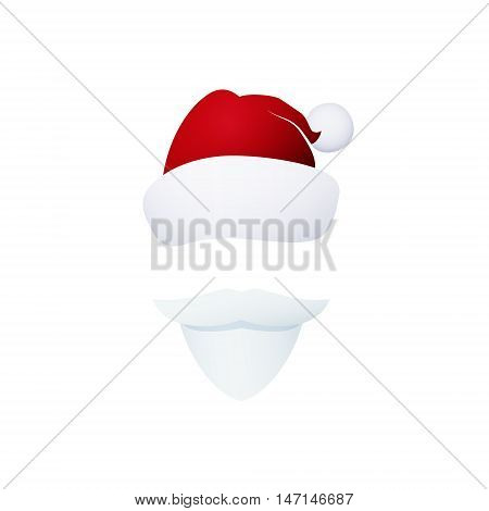 Santa Claus mustache and Hat without a Face, Christmas Decorations, Merry Christmas and Happy New Year , Vector Illustration
