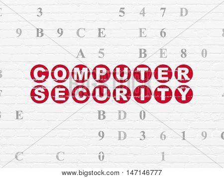 Privacy concept: Painted red text Computer Security on White Brick wall background with Hexadecimal Code