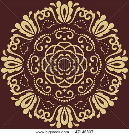 Oriental vector round pattern with golden arabesques and floral elements. Traditional classic ornament