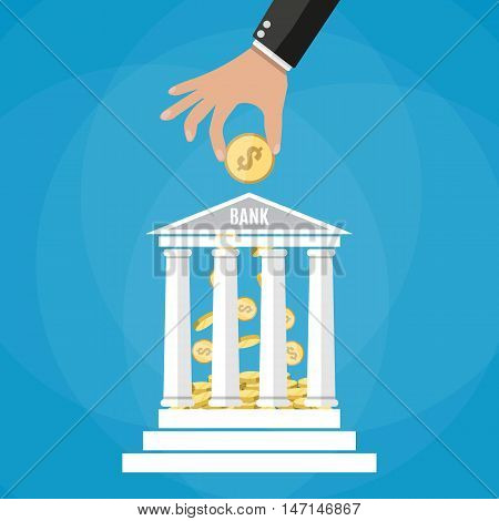 Hand putting golden coin into bank building. Depositing money in bank account. vector illustration in flat style on blue background