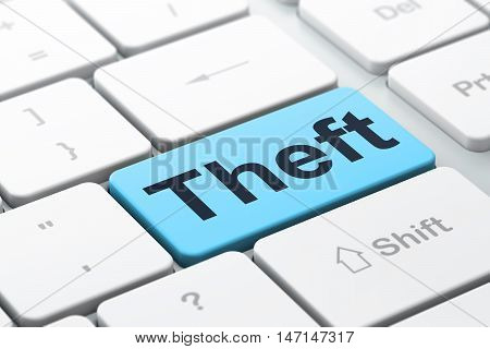 Privacy concept: computer keyboard with word Theft, selected focus on enter button background, 3D rendering