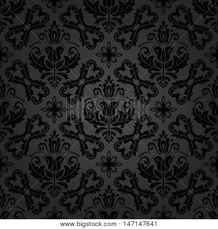 Seamless baroque vector dark pattern. Traditional classic orient ornament