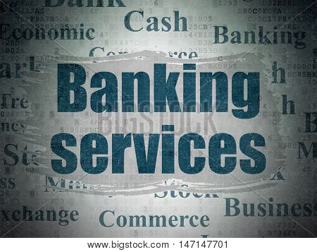 Currency concept: Painted blue text Banking Services on Digital Data Paper background with   Tag Cloud