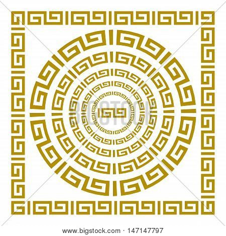 Round And Rectangular Classical Roman Or Greek Frame Vector