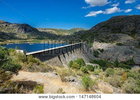 Closeup view of Vega de Tera collapsed dam in Sanabria, Zamora