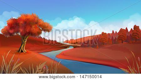 Autumn background. Nature landscape vector graphics