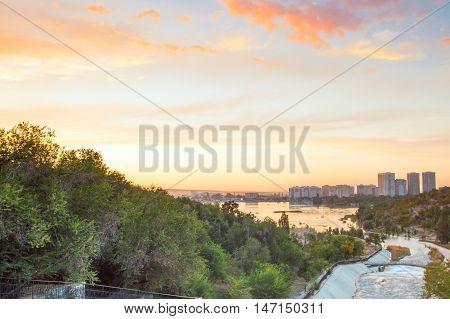 Sayran lake in Almaty city evening time Kazakhstan