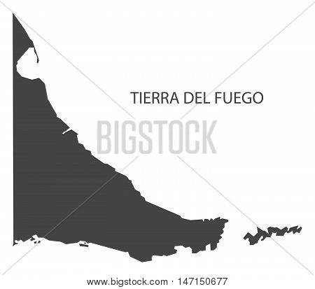 Tierra del Fuego Argentina Map grey vector high res