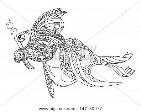 Gold fish coloring book vector illustration. Anti-stress coloring for adult. Zentangle style. Black and white lines. Lace pattern