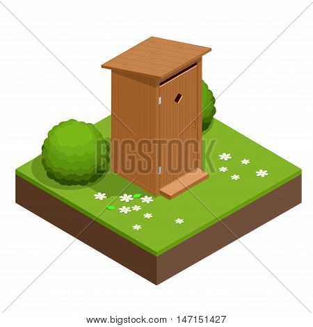 Isometric wooden bio toilet cabin. Hiking services. Flat color style vector icon.