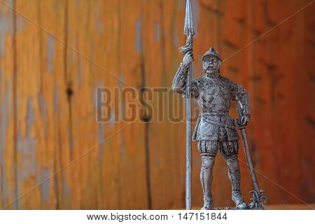 expressive tin soldier with weapons and armor