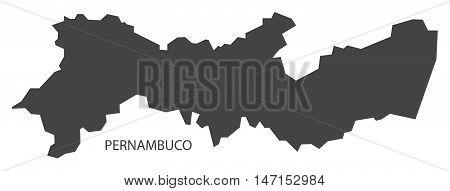 Pernambuco map grey brazil vector high res