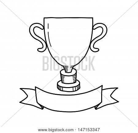 Winner Trophy Doodle. A hand drawn vector doodle illustration of a winner trophy.