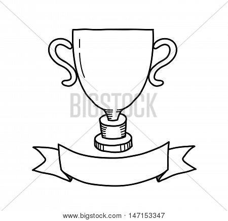 Winner Trophy Doodle. A hand drawn vector doodle illustration of a winner trophy.