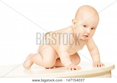 Portrait of a beautiful little baby. Infant baby. Healthcare. Isolated over white background.