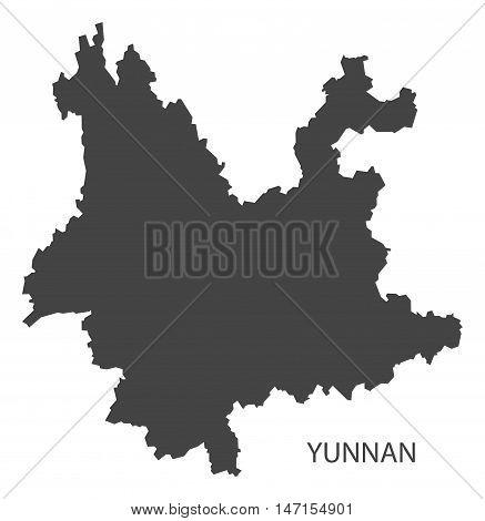 Yunnan China Map in grey vector high res