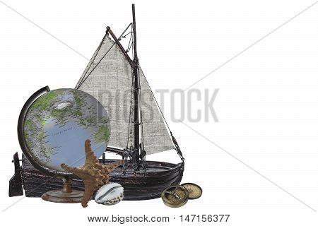 Travel sea treasure-Sailing nave, globe and sea animals on white background