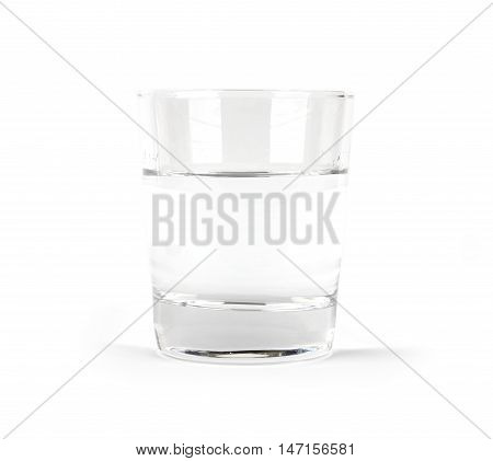 Glass of water isolated on a white background side view