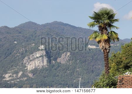 Madonna del Sasso church over Orta Lake Italy