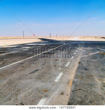 In Oman Near The Old Desert The Asphalt Empry Street And Loneliness