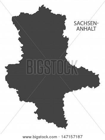 Sachsen-Anhalt Germany Map grey vector high res