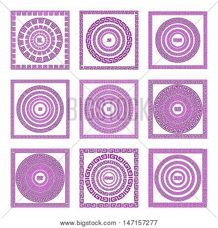 Set Of Meander Borders And Frames. Ancient Traditional Greek Decoration. Greece Vector Pink, And Pur