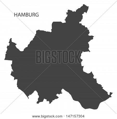 Hamburg Germany Map grey vector high res