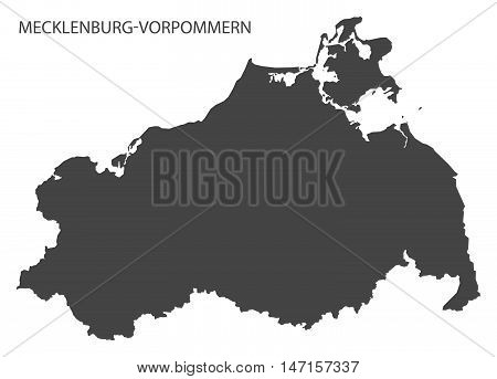 Mecklenburg-Vorpommern Germany Map grey vector high res