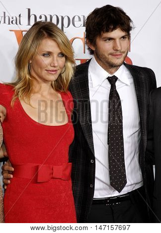 Cameron Diaz and Ashton Kutcher at the World premiere of 'What Happens in Vegas' held at the Mann Village Theater in Westwood, USA on May 1, 2008.