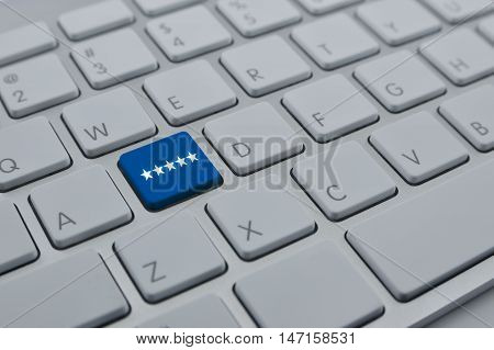 Five stars on modern computer keyboard button Increase rating Feedback business concept