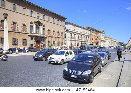 ROME ITALY - May 03.2012: street leading to St. Peter's Square and the river Tiber
