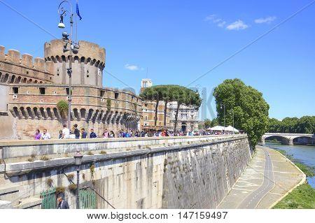 ROME ITALY - May 03.2012: Tourists visiting the ancient castle of Saint Angel in a park Adriano