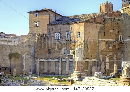 The ruins of the ancient buildings of times of the Roman Empire. Monument of archeology and culture in the city center
