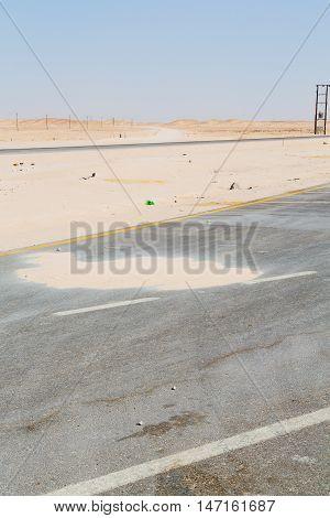In Oman Near The Old Desert The Asphalt