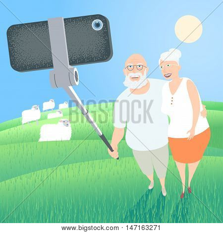Group of old people making selfie picture with smartphone and stick on nature background vector illustration. Senior people elderly pensioners grandparents old people concept visual