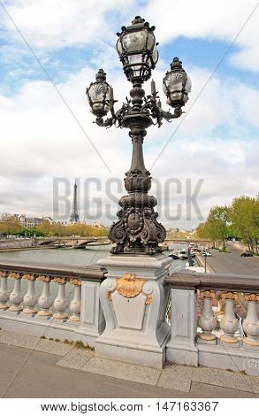 Candelabrum of Alexandre III bridge, nineteenth century, the landscape in the distance: the Eiffel Tower (Paris France)