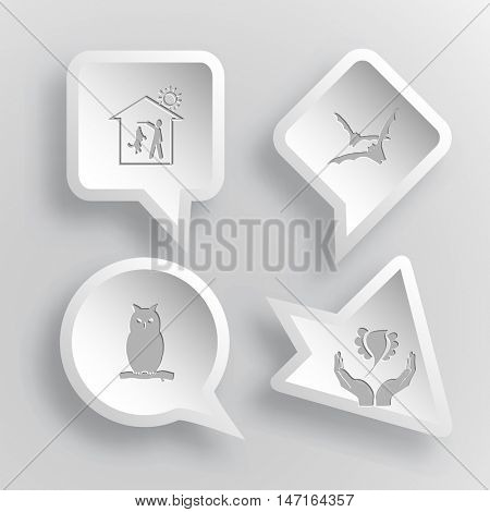 4 images: home dog, bats, owl, bird in hands. Animal set. Paper stickers. Vector illustration icons.