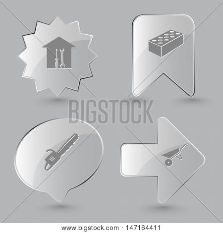 4 images: workshop, hollow brick, gasoline-powered saw, wheelbarrow. Industrial tools set. Glass buttons on gray background. Vector icons.