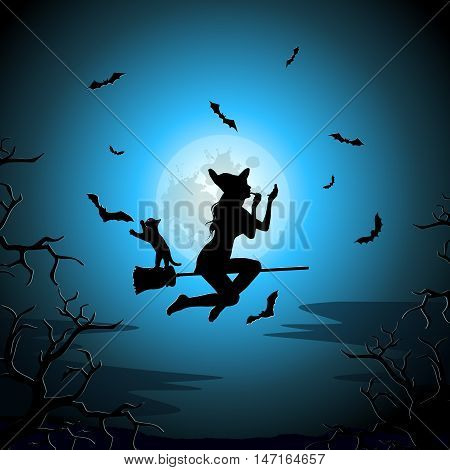 Beautiful sexy witch with with long hair applying lipstick and flying on broomstick on a background of the full moon. Flock of bats surrounds a witch flying on broomstick. cat catches bat. Vector silhouette.