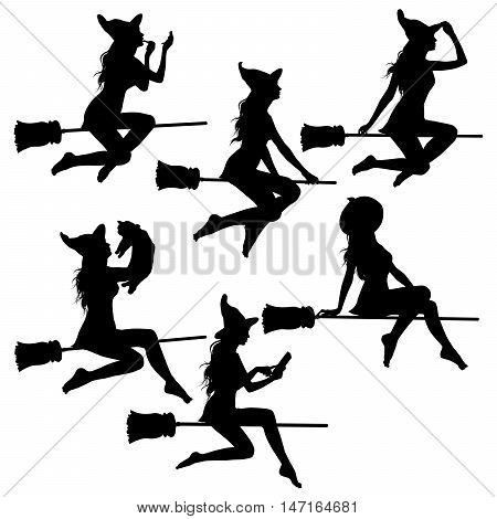 Set of beautiful sexy witch silhouettes flying on broomstick isolated on white background.