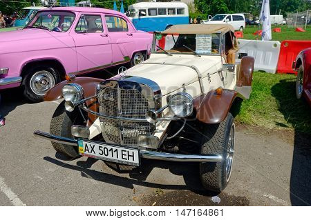 Kharkiv Ukraine - May 22 2016: Retro car Mercedes-Benz Gazelle manufactured in1926 is presented at the festival of vintage cars Kharkiv Retro Rally - 2016 in Kharkiv Ukraine on May 22 2016
