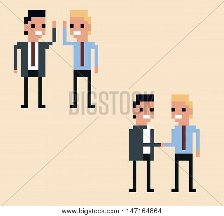 vector pixel art illustration two businessman hi-five and handshake on light yellow background isolated