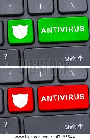 Close-up Keyboard With Antivirus Button