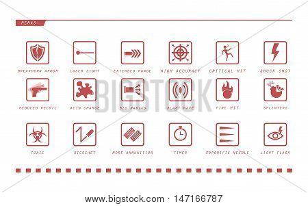 Game weapon perks. Game gun icons. Vector illustration