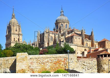 View of Old and New Cathedrals in Salamanca, Spain