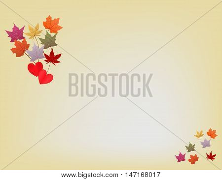 Yellow light background with falling autumn leaves
