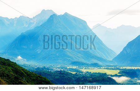Beautiful summer landscape. Slovenia mountain and valley