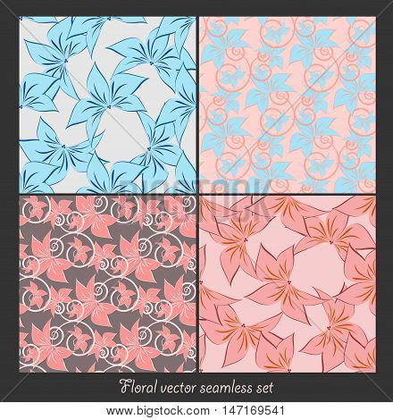 floral seamless vector patterns set. Elements for your design. Eps10