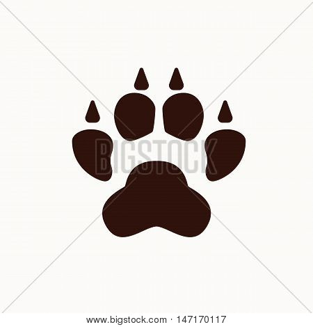 Dog foot silhouette isolated. Vector dog foot pet silhouette illustration. Concept of animal dog foot. Black dog foot isolated for your design. Shape of pet dog foot isolated.